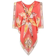 """EMILIO PUCCI S/S 2004 """"Stella"""" Print Silk Beach Cover Poncho Scarf Blouse 