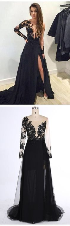 Black Lace Prom Dress,Deep V-Neck Evening Dress,Sexy Side Slit Party Dress,Beading Charming Dress