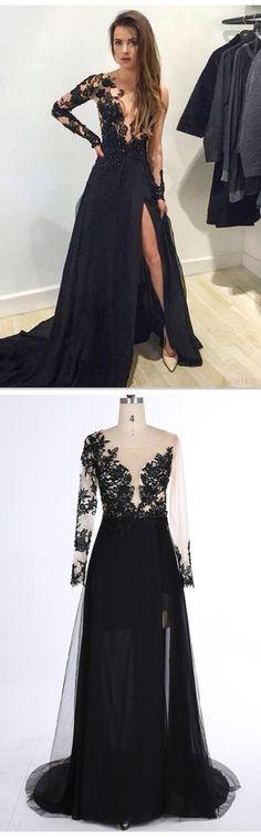 Black Lace Prom Dress,Deep V-Neck Evening Dress,Sexy Side Slit Party Dress,Beading Charming Dress