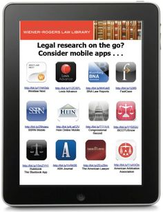 Legal research apps handout from David McClure, Wiener-Rogers Law Library