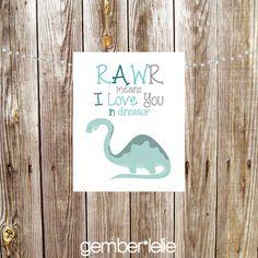 Rawr I Love You in Dinosaur Nursery Art Wall Art by gemberlelie