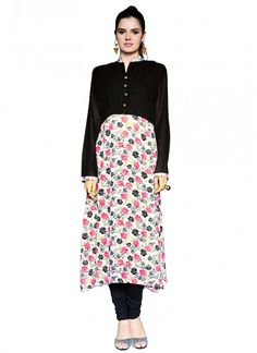 Bewildering Black and Off White Faux Georgette Printed Kurti