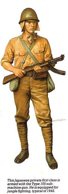 artwork from a book called WWII:The Directory of Weapons showing a japanese soldier using type 100 submachine gun Military Photos, Military Art, Military History, Imperial Japanese Navy, Imperial Army, Soldado Universal, Ww2 Uniforms, Military Uniforms, Soldier Costume
