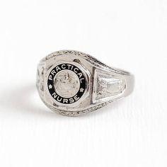 Vintage Sterling Silver Practical Nurse Signet Ring - Size 8 Black Enamel LPN Medical Profession Owl & Oil Lamp Motif Jewelry Signed Bale by Maejean Vintage on Etsy