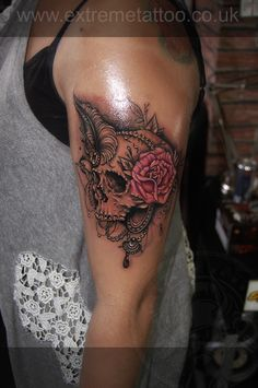 Skull feather rose tattoo,Gabi Tomescu.Extreme tattoo&piercing. Fort William.Highland