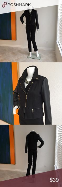 Iman Denim  Suit Iman denim suit with faux leather arms and goldtone zippers embellishing the front of the jacket for a very stunning look.  Very gently worn from a smoke and pet free home. Iman Jackets & Coats Jean Jackets