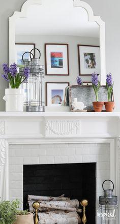 Spring Mantel Decor - spring home decor ideas - farmhouse decorating - mantel styling
