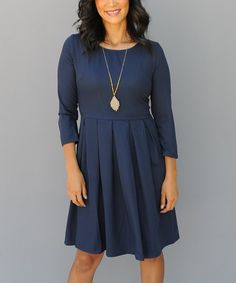 Another great find on #zulily! Navy Pleated Skater Dress by Journey Five #zulilyfinds