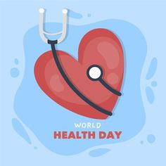 Hand drawn world health day with heart a. World Heart Day, International Health, Medical Logo, Health Day, Medical Equipment, Stethoscope, Colorful Drawings, Medical Doctor, Vector Free