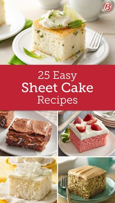 Easy Sheet Cakes You Need to Try Perfect for parties, potlucks or just as an everyday dessert, these are the classic sheet cake recipes you'll turn to again and again. Easy Desserts, Delicious Desserts, Dessert Recipes, Frosting Recipes, Health Desserts, Just Cakes, Cakes And More, Pie Cake, No Bake Cake