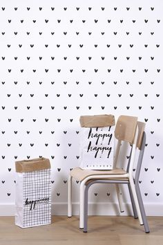 Hearts Wallpaper - Silk Interiors Wallpaper Australia  Available from www.silkinteirors.com.au #wallpaper #wallpaperforwalls #kidswallpaper #hearts #blackandwhite