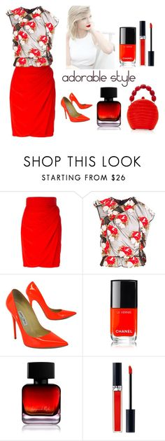 """""""adorable style"""" by nejcka ❤ liked on Polyvore featuring Versace, Simone Rocha, Jimmy Choo, Chanel, The Collection by Phuong Dang, Christian Dior and Nancy Gonzalez"""