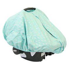 Aqua & Silver Sparkle Car Seat Canopy Cover