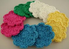 Flower Facial Scrubbies Assorted Colors Set of 5 100% | Etsy Crochet Faces, Crochet Gifts, Free Crochet, Crochet Scrubbies, Star Flower, Cotton Crochet, Etsy Handmade, Handmade Items, Handmade Gifts