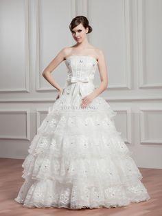 Renda - robe de mariée mode de bal col droit en dentelle avec perlage
