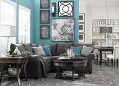 My inspiration for my living room; love the color scheme. That color blue is so relaxing!