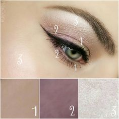 1= @nablacosmetics eyeshadow in Madre Perla (This is a duo chrome beige/ pink/ greenish shade)  2 = @nablacosmetics eyeshadow in Ground State (This is a duo chrome lavender/ hazel shade  3= @sleekmakeup Midas Touch Palette the shade Cubic Zirconia which is a white shimmery highlighter.