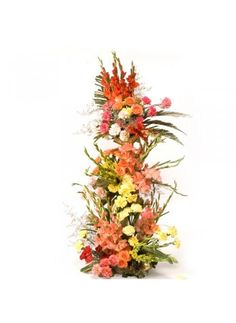 Carnations are a traditional expression of love and devotion. This arrangement is of 100 mix color carnations, glades with lots of greens & fillers. Approx height 3-4 ft.  http://bookurgift.com/1409-its-my-pleasure
