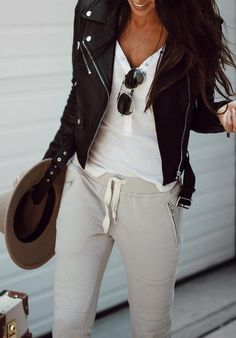 Leather Jacket // White Top // Grey Pants                                                                             Source