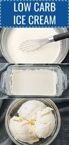 Learn how to make a creamy homemade vanilla ice cream with no sugar that's keto & low carb. It's so easy and an ice cream maker or machine isn't needed. Just 4 ingredients and lower carb than store bought ones like halo top. It's a great base for adding Helado Keto, Keto Eis, Keto Postres, Mini Desserts, Low Carb Desserts, Low Carb Recipes, Quick Recipes, Summer Recipes, Keto Ice Cream