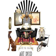 Art Deco by kari-c on Polyvore featuring interior, interiors, interior design, home, home decor, interior decorating, artdeco and glitzglam