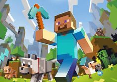 Minecraft steve met diamand pickaxe