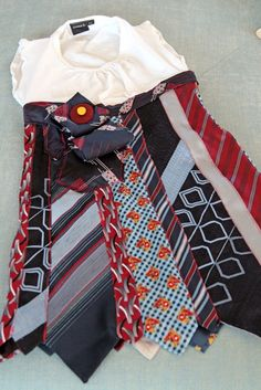 Recycled Tie Dress: Would be perfect for a daddy's girl to have a dress made out of all of daddy's old ties! Too presh