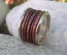 Copper and Silver Spinner Rings by maidstonejewelry on Etsy, $55.00