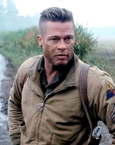 Brad Pitt in Fury.  I've done this cut a few times, but I need to know how Brad's hair stayed put through a war!