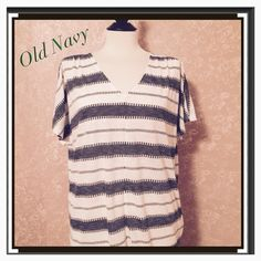 NEW Jacquard V-Neck Tee Top White Stripe L NEW Old Navy Jacquard V-Neck Top White Stripe Large L Double Vback with Strap across neckline Short Dolman Sleeve Relaxed Fit Polyester Blend  Trades Old Navy Tops Tees - Short Sleeve