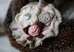 Coral Brooch Fabric Flowers BroochHandmade by NESCHdecoration
