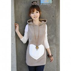 Sweet Hooded Sleeveless Big Heart Print All-Match Cotton Blend Women's Waistcoat | DressLily.com