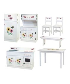 Loving this White Maple Kitchen & Dining Room Furniture Play Set on #zulily! #zulilyfinds