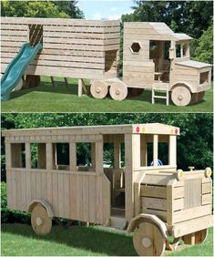 Pallets play truck for kids. kids fun and play ideas Pallet Projects Signs, Wood Projects For Kids, Wood Projects For Beginners, Scrap Wood Projects, Diy Projects, Diy Furniture Cushions, Kids Furniture, Pallet Furniture, Recycled Pallets