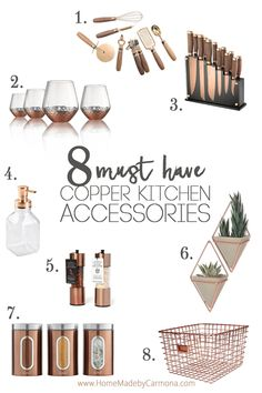 10 Best Rose Gold Kitchen Accessories These copper kitchen accessories add some warm tones to your space. Copper is very on-trend and it gives off a luxe vibe as well. Take a look at the copper items we have chosen to add to your kitchen. Rose Gold Kitchen Accessories, Copper Accessories, Home Decor Accessories, Layout Design, Copper Cookware Set, Copper Kitchen Decor, Diy Kitchen, Kitchen Tools, Copper Kitchen Accents
