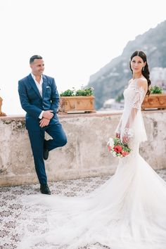 74d4241bec Caryn & Ravid's Breathtaking Amalfi Coast Destination Wedding! Real Lee  Grebenau bride wore our Ellie