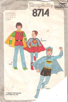 Vintage 1970s Batman Robin Sewing Pattern by GrandmaMadeWithLove, $20.00