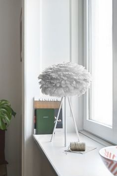 Stolová lampa VITA EOS GREY Handmade Lampshades, Blue Table Lamp, Adjustable Base, Eos, Design Bestseller, Goose Feathers, Modern Shop, Designer, Light Blue