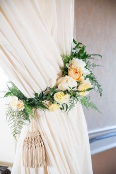 Floral and Fern Curtain Tie   Kate Webber Photography   Modern Marbled Wedding Inspiration in Earthy Tones of Gray, Yellow, and Amber