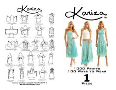Kariza Brochure showcasing 15 ways to wear your Kariza Wrap Skirt! more ways to wear available at www.kariza.com  These are beautiful and you can create many looks.  Just got two in Beaufort SC at Barefoot Bubbas on Bay street.