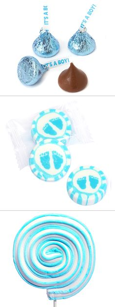 "Expecting a bouncing baby boy? Shower your baby shower guests with playful blue candy like blue Hershey's kisses, blue baby feet hard candy, and blue ""It's a boy!"" chocolate coints! Get more baby shower inspiration at http://www.candywarehouse.com/themes/baby-shower-candy/?DepartmentId=6&F_All=Y&utm_source=Pinterest&utm_medium=Social&utm_campaign=Easter"