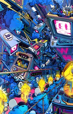 The City of Work, Money and Competition Graffiti Wallpaper, Sci Fi Wallpaper, Graffiti Art, Composition Art, Popular Art, Psychedelic Art, Digital Illustration, Graphic Illustration, Vaporwave Wallpaper