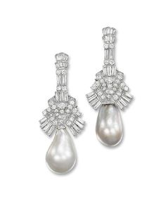 A PAIR OF IMPORTANT NATURAL PEARL AND DIAMOND EAR PENDANTS   Each suspending a white and a grey natural pearl drop measuring 16.5-18.2 x 27.4 and 16.1-17.1 x 25.5 mm respectively to the brilliant and baguette-cut diamond geometric surmount, circa 1960, 7.0 cm long