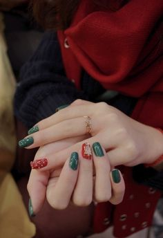 Green and Red Nails