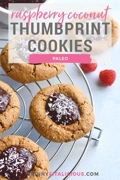 Paleo Raspberry Coconut Thumbprint Cookies made dairy free and grain free. Easy to make and incredibly delicious. Paleo Raspberry Coconut Thumbprint Cookies made dairy free and grain free. Easy to make and incredibly delicious. Healthy Christmas Recipes, Healthy Cookie Recipes, Healthy Gluten Free Recipes, Healthy Cookies, Best Dessert Recipes, Paleo Dessert, Fun Desserts, Delicious Desserts, Healthy Food