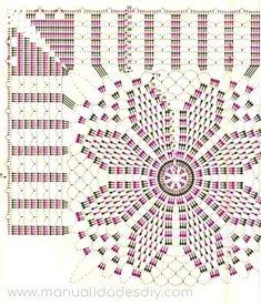 Beautiful Table Runner - Her Crochet Crochet Doily Diagram, Crochet Mandala Pattern, Crochet Chart, Crochet Squares, Crochet Doilies, Crochet Stitches, Crochet Patterns, Crochet Table Runner, Crochet Tablecloth