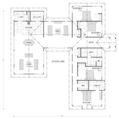 Home Building, Wooden Floor & Timber Frame House Plans New Zealand U Shaped House Plans, U Shaped Houses, The Plan, How To Plan, Beach House Plans, House Floor Plans, Home Design Plans, Plan Design, New Zealand Houses