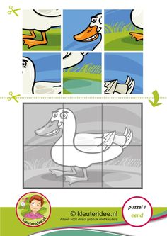 Puzzel eend, kleuteridee, thema de sloot, Preschool duck puzzle, free printable op of formaat Numbers Preschool, Preschool Curriculum, Montessori Activities, Preschool Worksheets, Kindergarten Activities, Preschool Activities, Teaching Kids, Kids Learning, Free Printable Puzzles