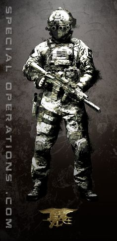 Artwork done for www.SpecialOperations.com, depicting various Special Operations personnel in a graphic style. Mixture of photo manipulation, painting and touchup for this project, it was alot of fun to do! Seen here is a US Navy SEALs Team 6 Operator kitted in low light gear.