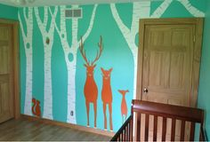 our small town LOVE- hand painted mural for nursery! Teal & orange woodland/deer theme.